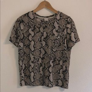 H&M Snakeskin Print Cotton Tee with Pocket